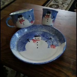 Trio of snowman pottery dishes